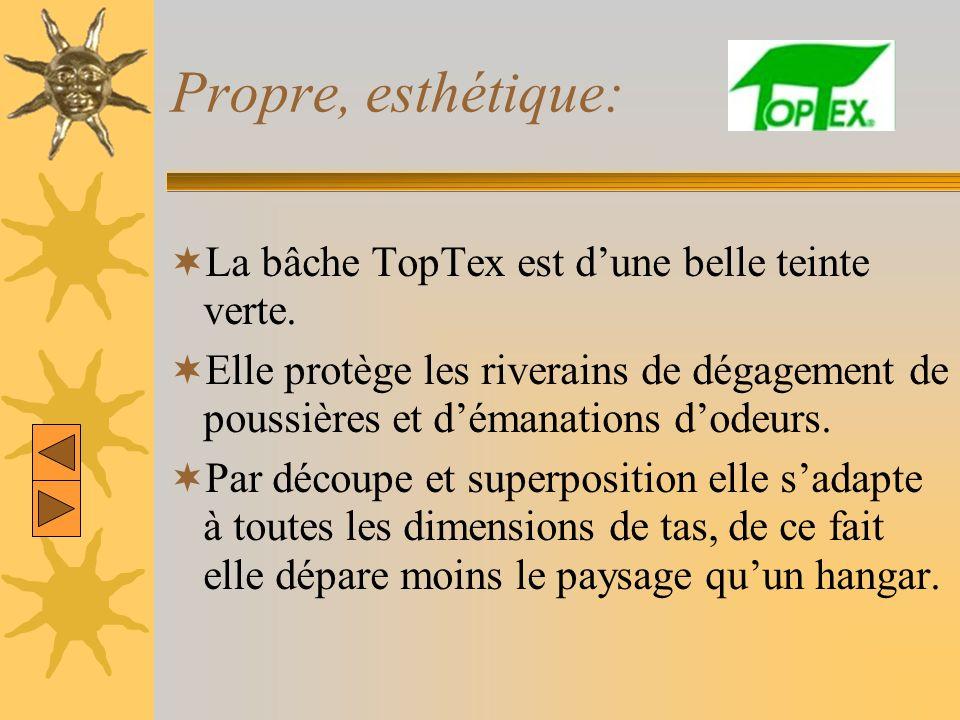 Propre, esthétique: La bâche TopTex est dune belle teinte verte. Elle protège les riverains de dégagement de poussières et démanations dodeurs. Par dé