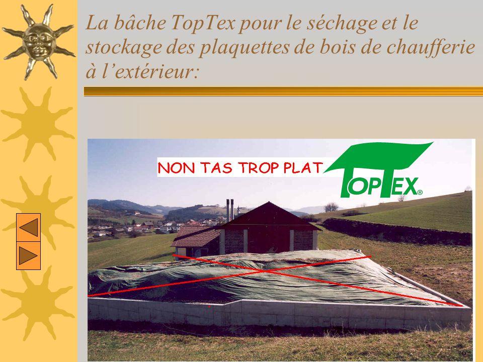 La bâche TopTex pour le séchage et le stockage des plaquettes de bois de chaufferie à lextérieur: