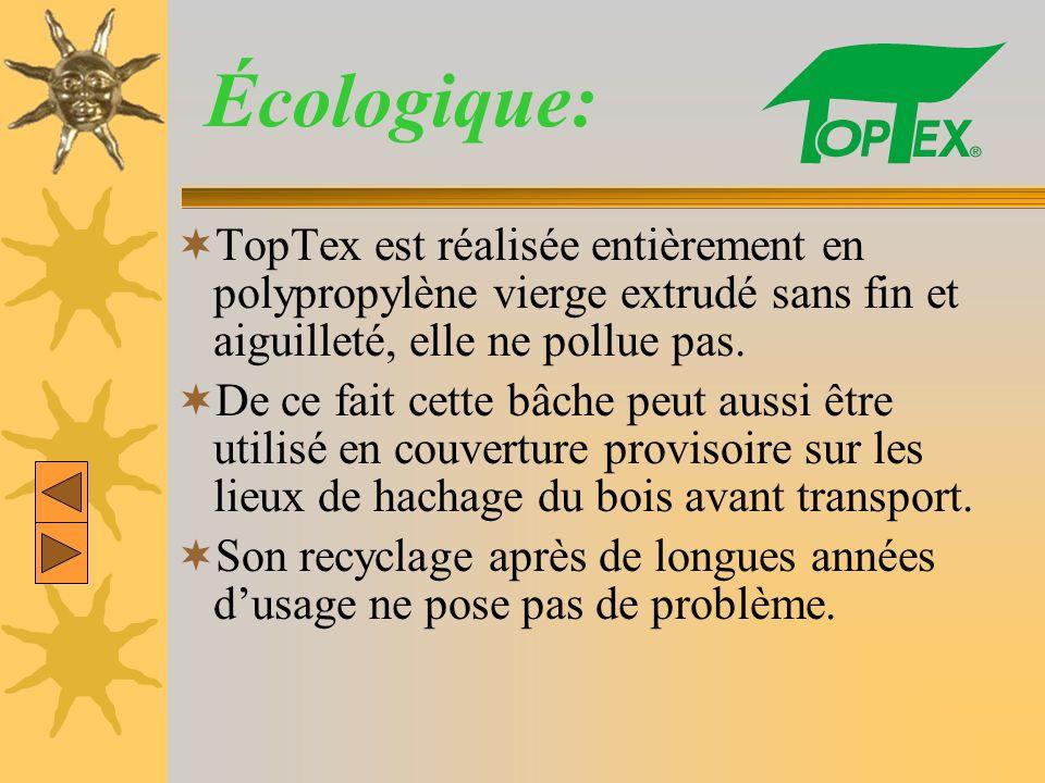 Écologique: TopTex est réalisée entièrement en polypropylène vierge extrudé sans fin et aiguilleté, elle ne pollue pas. De ce fait cette bâche peut au