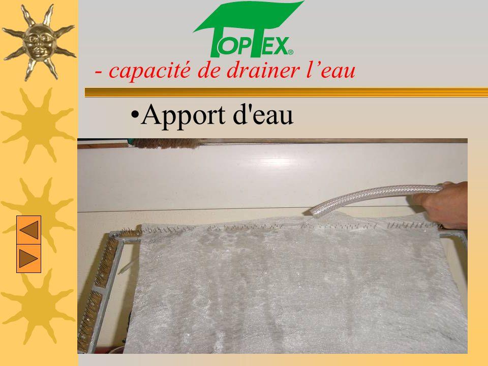 - capacité de drainer leau Apport d'eau