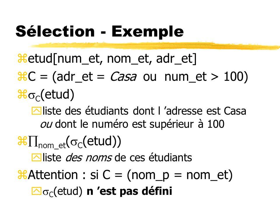 Sélection - Exemple zetud[num_et, nom_et, adr_et] zC = (adr_et = Casa ou num_et > 100) z C (etud) yliste des étudiants dont l adresse est Casa ou dont