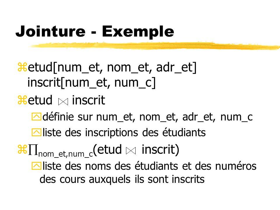 Jointure - Exemple zetud[num_et, nom_et, adr_et] inscrit[num_et, num_c] zetud inscrit ydéfinie sur num_et, nom_et, adr_et, num_c yliste des inscriptio