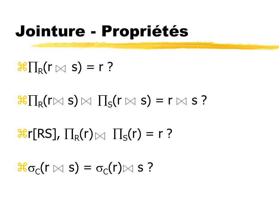 Jointure - Propriétés z R (r s) = r ? z R (r s) S (r s) = r s ? zr[RS], R (r) S (r) = r ? z C (r s) = C (r) s ?