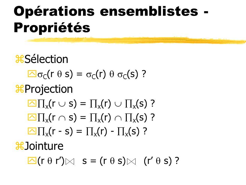 Opérations ensemblistes - Propriétés zSélection y C (r s) = C (r) C (s) ? zProjection y x (r s) = x (r) x (s) ? y x (r - s) = x (r) - x (s) ? zJointur