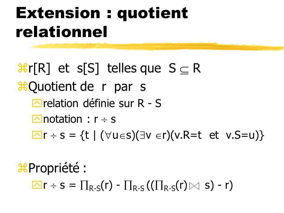 Extension : quotient relationnel zr[R] et s[S] telles que S R zQuotient de r par s yrelation définie sur R - S ynotation : r s yr s = {t | ( u s)( v r