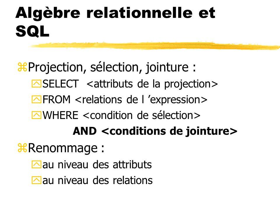 Algèbre relationnelle et SQL zProjection, sélection, jointure : ySELECT yFROM yWHERE AND zRenommage : yau niveau des attributs yau niveau des relation