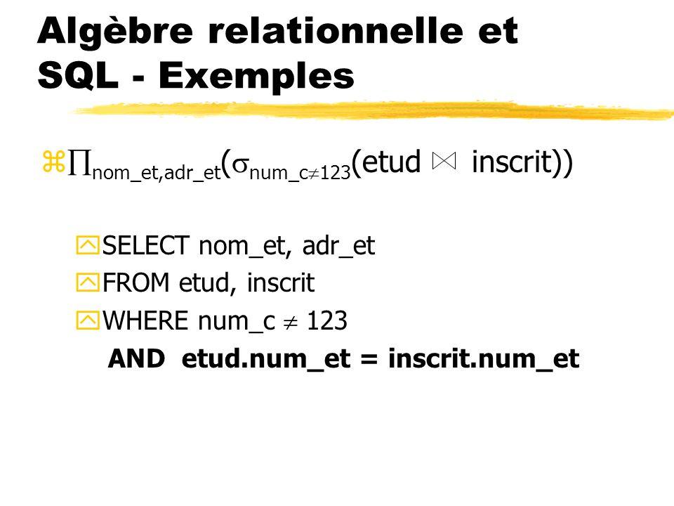 Algèbre relationnelle et SQL - Exemples z nom_et,adr_et ( num_c 123 (etud inscrit)) ySELECT nom_et, adr_et yFROM etud, inscrit yWHERE num_c 123 AND et