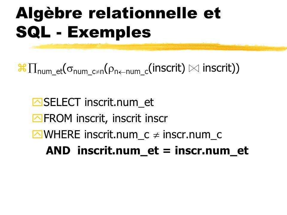 Algèbre relationnelle et SQL - Exemples z num_et ( num_c n ( n num_c (inscrit) inscrit)) ySELECT inscrit.num_et yFROM inscrit, inscrit inscr yWHERE in