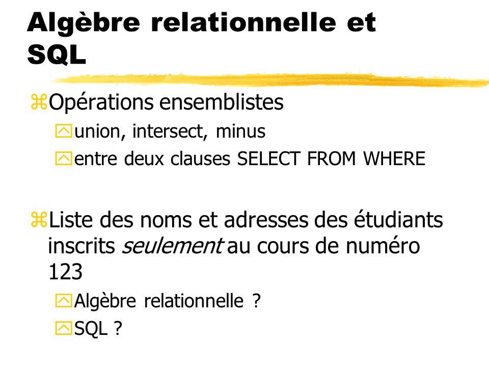 Algèbre relationnelle et SQL zOpérations ensemblistes yunion, intersect, minus yentre deux clauses SELECT FROM WHERE zListe des noms et adresses des é