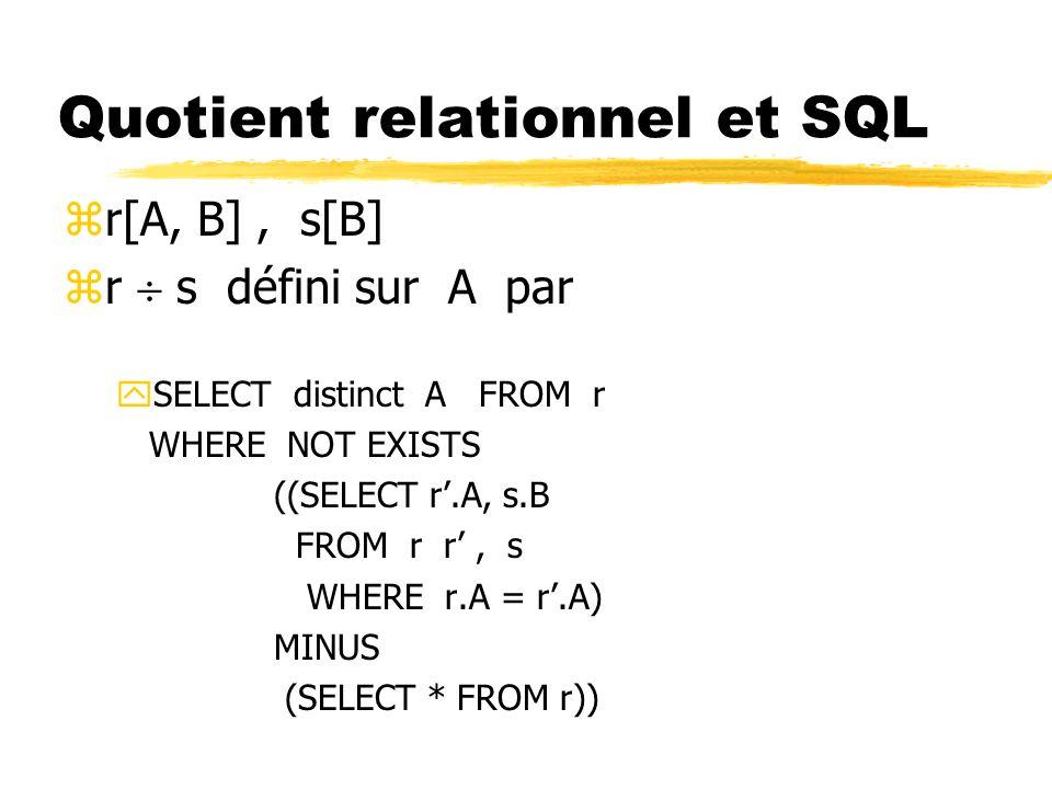 Quotient relationnel et SQL zr[A, B], s[B] zr s défini sur A par ySELECT distinct A FROM r WHERE NOT EXISTS ((SELECT r.A, s.B FROM r r, s WHERE r.A =
