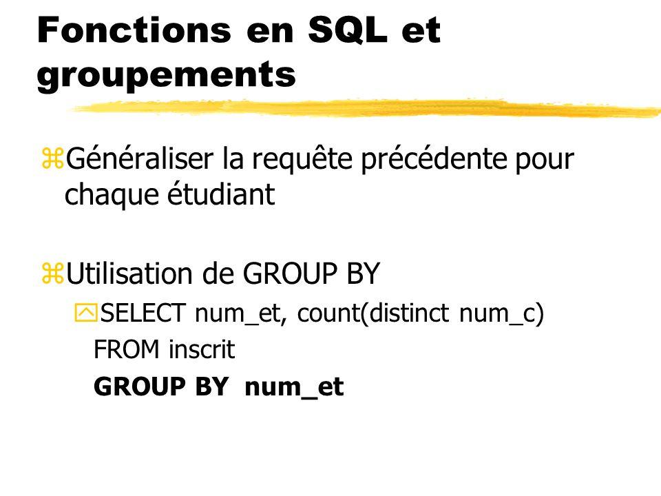 Fonctions en SQL et groupements zGénéraliser la requête précédente pour chaque étudiant zUtilisation de GROUP BY ySELECT num_et, count(distinct num_c)