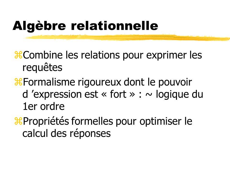 Algèbre relationnelle zCombine les relations pour exprimer les requêtes zFormalisme rigoureux dont le pouvoir d expression est « fort » : ~ logique du