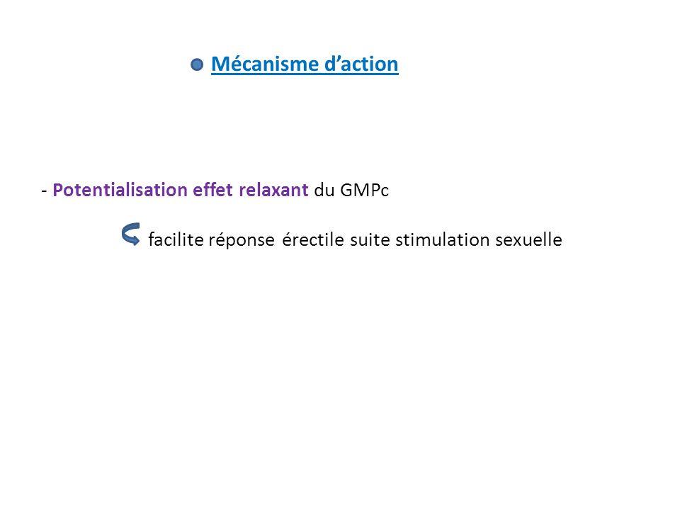 Mécanisme daction - Potentialisation effet relaxant du GMPc facilite réponse érectile suite stimulation sexuelle