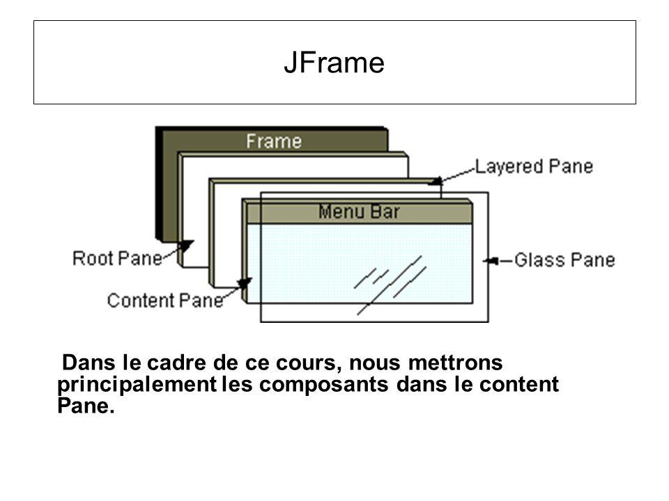 Dans le cadre de ce cours, nous mettrons principalement les composants dans le content Pane.