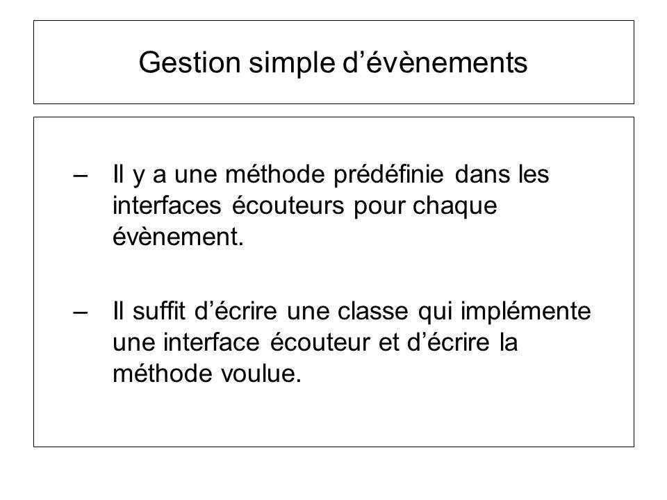 –Il y a une méthode prédéfinie dans les interfaces écouteurs pour chaque évènement. –Il suffit décrire une classe qui implémente une interface écouteu