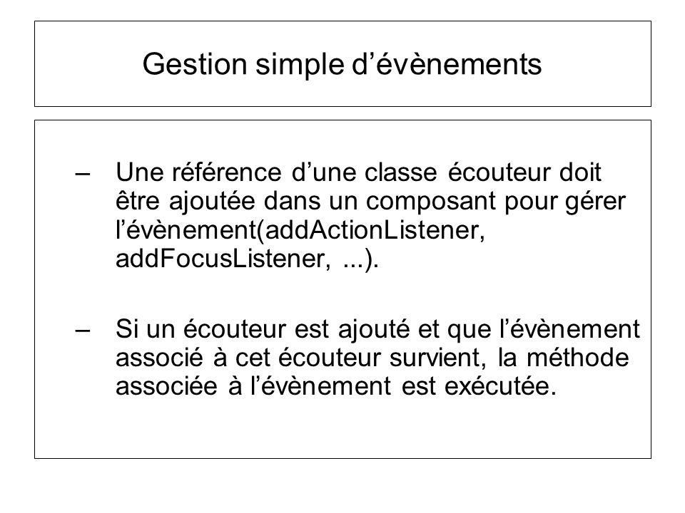–Une référence dune classe écouteur doit être ajoutée dans un composant pour gérer lévènement(addActionListener, addFocusListener,...). –Si un écouteu