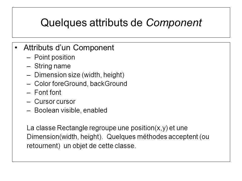 Quelques méthodes concernant la position et la taille –void setBounds(intx, inty, int width, int height); –void setBounds(Rectangle rect); –void setSize(Dimension d); –void setLocation(intx, inty); –void setLocation(Point p); –void setMinimumSize(Dimension d); –void setMaximumSize(Dimension d); –void setPreferredSize(Dimension d); Et tous les GET équivalents.
