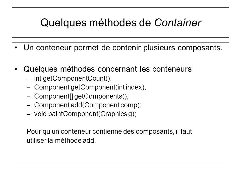 Un conteneur permet de contenir plusieurs composants. Quelques méthodes concernant les conteneurs –int getComponentCount(); –Component getComponent(in