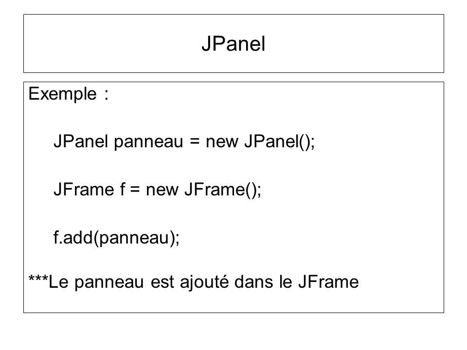 Exemple : JPanel panneau = new JPanel(); JFrame f = new JFrame(); f.add(panneau); ***Le panneau est ajouté dans le JFrame JPanel