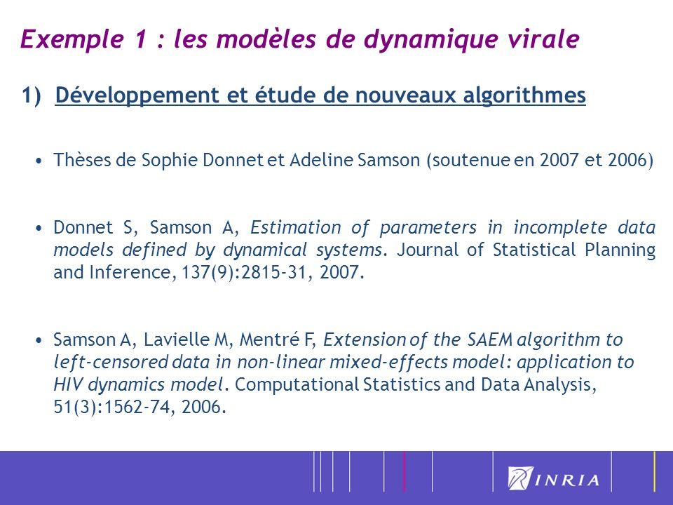 Exemple 1 : les modèles de dynamique virale 1) Développement et étude de nouveaux algorithmes Thèses de Sophie Donnet et Adeline Samson (soutenue en 2