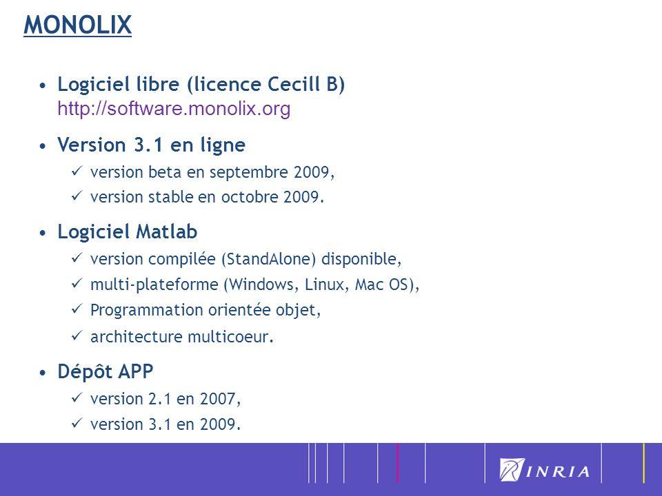 Logiciel libre (licence Cecill B) http://software.monolix.org Version 3.1 en ligne version beta en septembre 2009, version stable en octobre 2009. Log