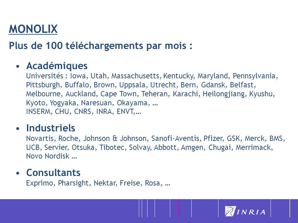 MONOLIX Plus de 100 téléchargements par mois : Académiques Universités : Iowa, Utah, Massachusetts, Kentucky, Maryland, Pennsylvania, Pittsburgh, Buff