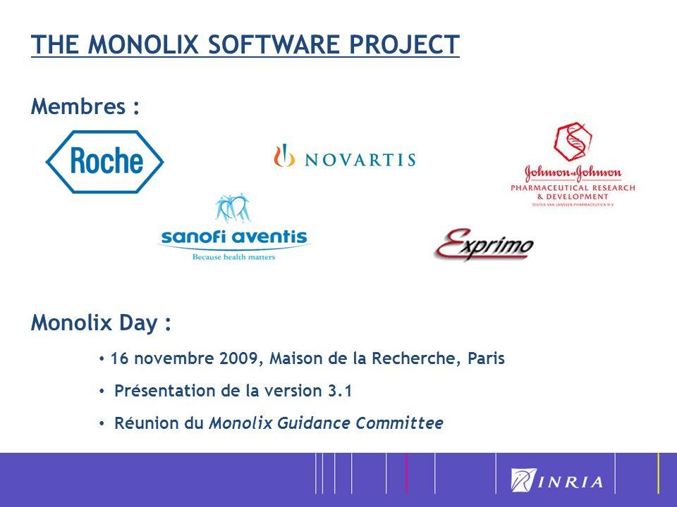 THE MONOLIX SOFTWARE PROJECT Membres : Monolix Day : 16 novembre 2009, Maison de la Recherche, Paris Présentation de la version 3.1 Réunion du Monolix