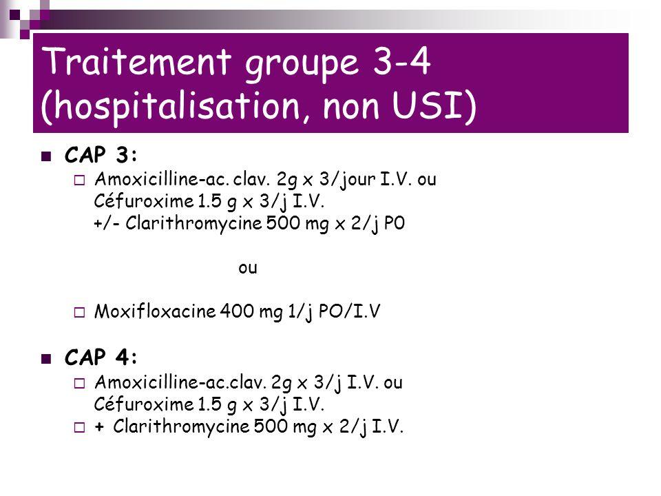 Traitement groupe 3-4 (hospitalisation, non USI) CAP 3: Amoxicilline-ac.