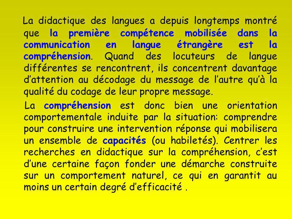 La didactique des langues a depuis longtemps montré que la première compétence mobilisée dans la communication en langue étrangère est la compréhensio