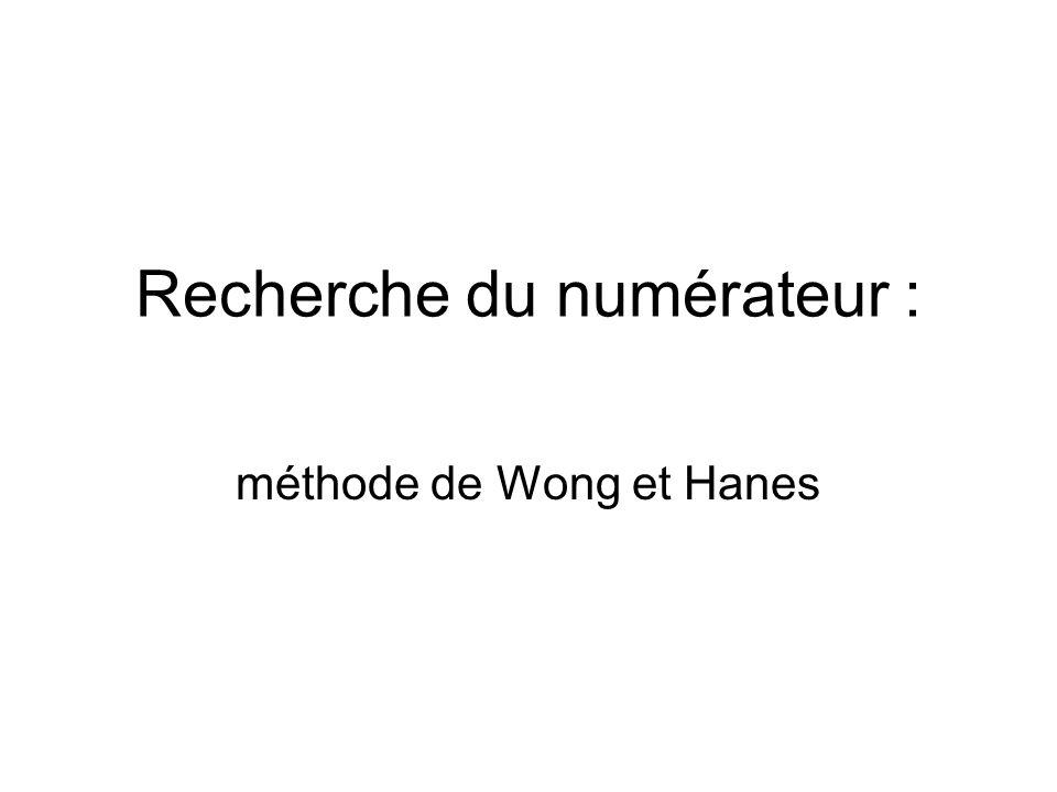 Recherche du numérateur : méthode de Wong et Hanes