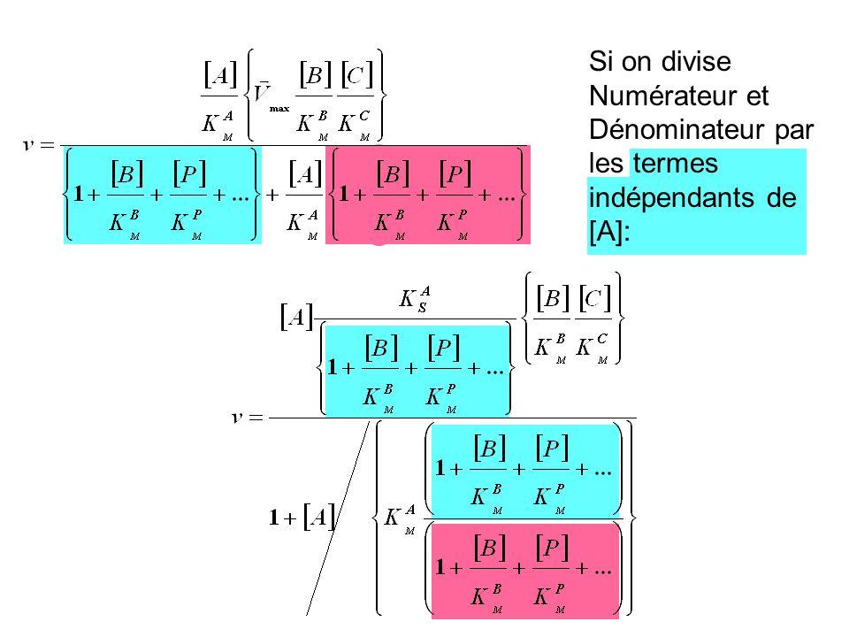 Si on divise Numérateur et Dénominateur par les termes indépendants de [A]: