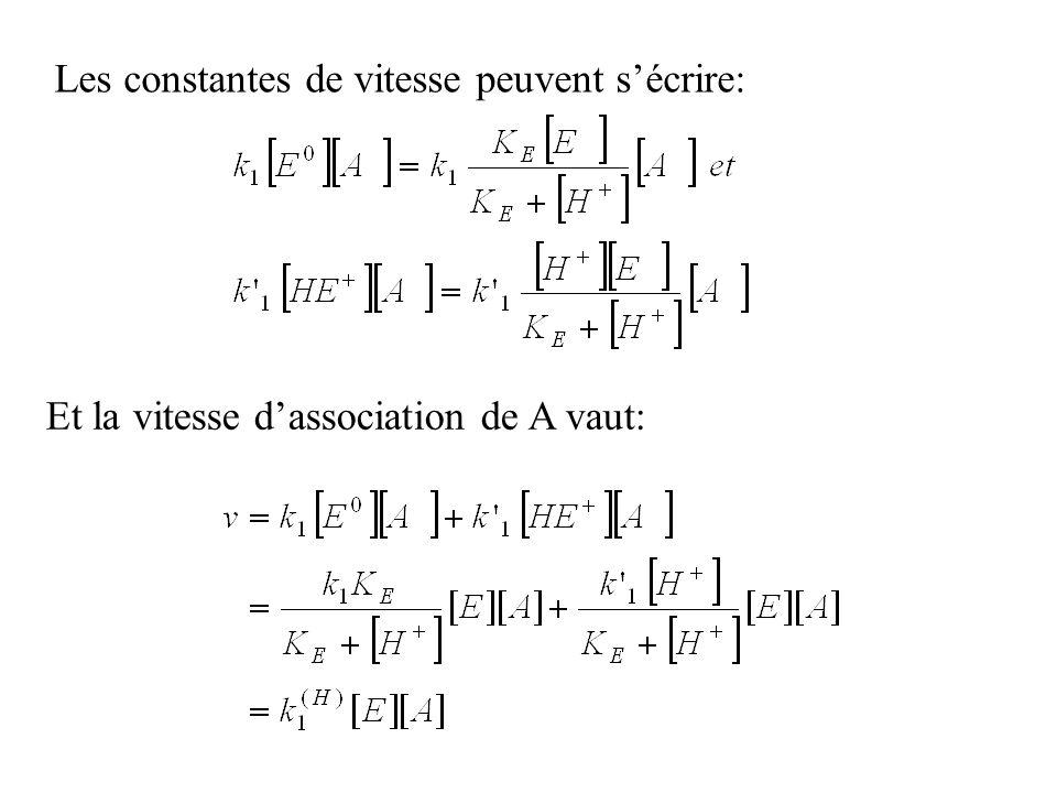 Les constantes de vitesse peuvent sécrire: Et la vitesse dassociation de A vaut: