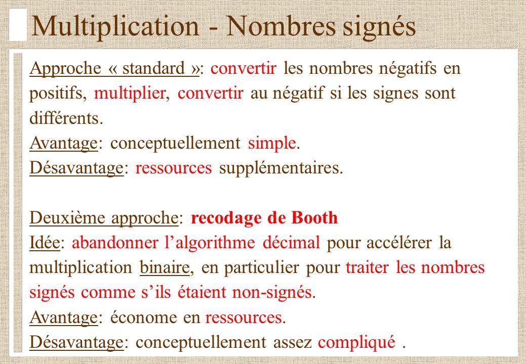 Multiplication - Nombres signés Approche « standard »: convertir les nombres négatifs en positifs, multiplier, convertir au négatif si les signes sont différents.
