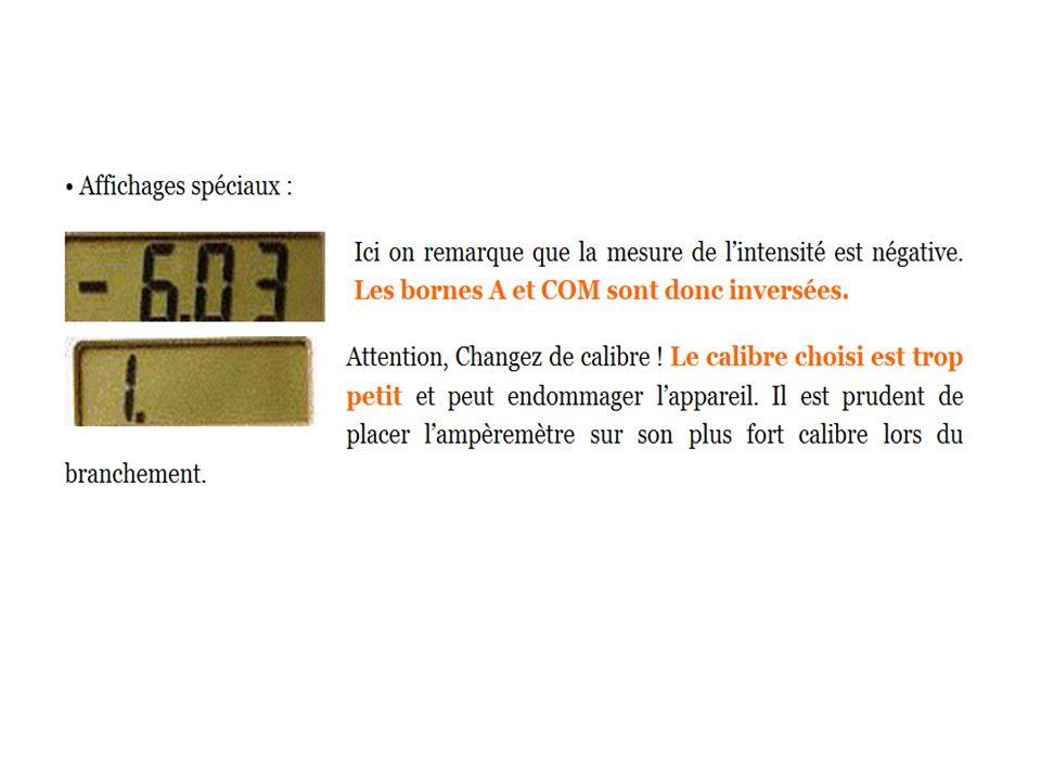 II - À retenir : précautions d utilisation de l ampèremètre.