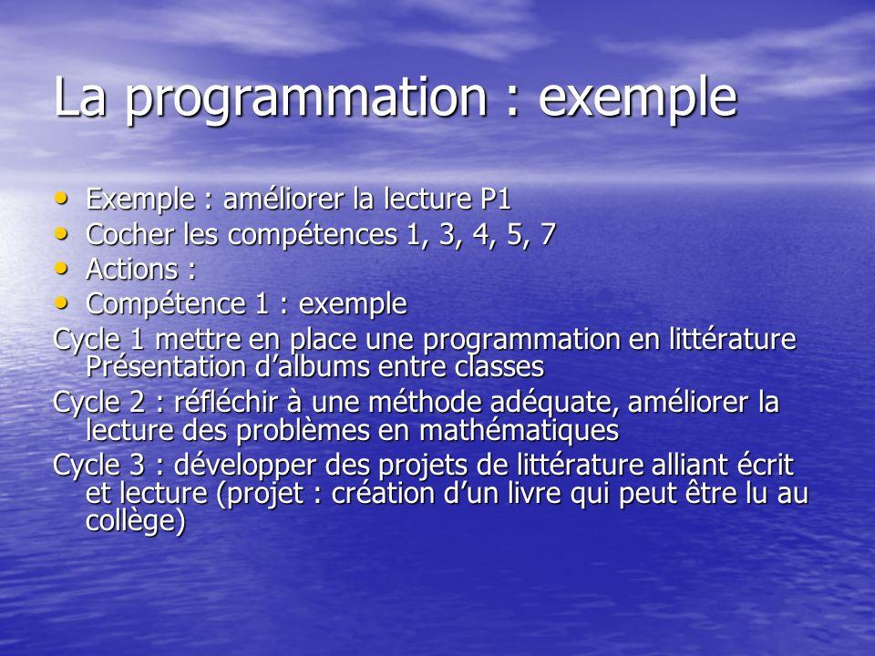 La programmation : exemple Exemple : améliorer la lecture P1 Exemple : améliorer la lecture P1 Cocher les compétences 1, 3, 4, 5, 7 Cocher les compéte