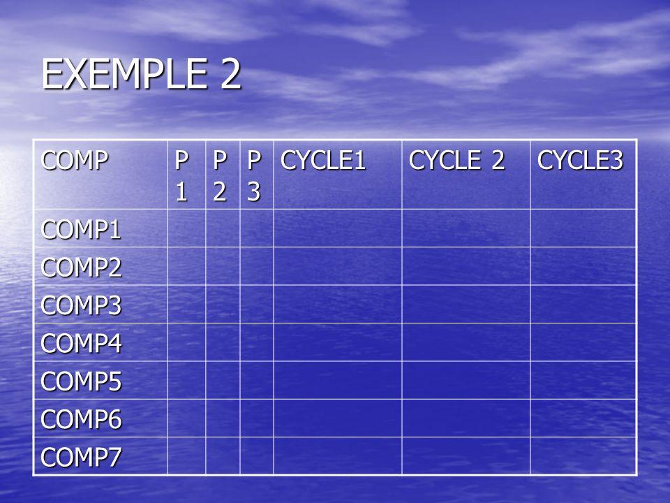 EXEMPLE 2 COMP P1P1P1P1 P2P2P2P2 P3P3P3P3CYCLE1 CYCLE 2 CYCLE3 COMP1 COMP2 COMP3 COMP4 COMP5 COMP6 COMP7