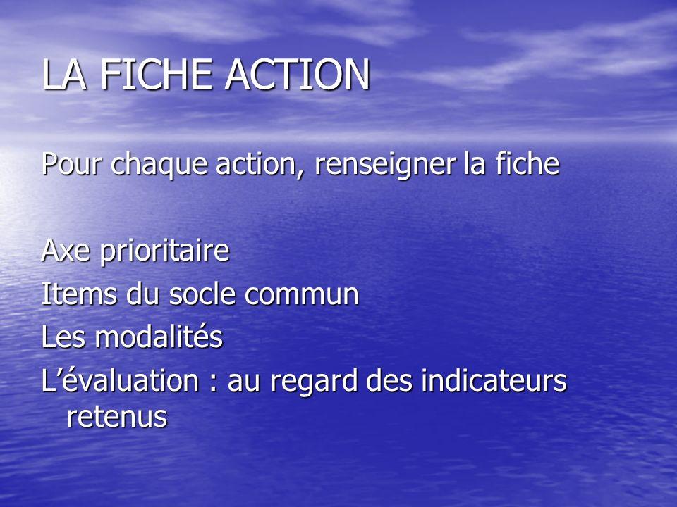 LA FICHE ACTION Pour chaque action, renseigner la fiche Axe prioritaire Items du socle commun Les modalités Lévaluation : au regard des indicateurs re