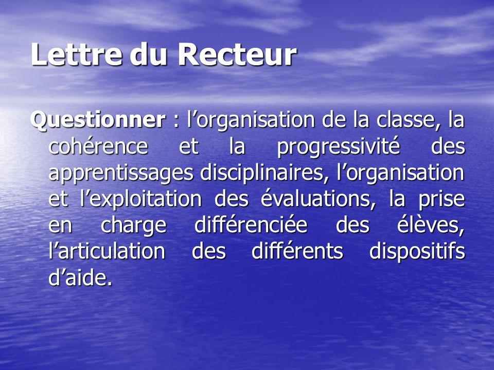 Lettre du Recteur Questionner : lorganisation de la classe, la cohérence et la progressivité des apprentissages disciplinaires, lorganisation et lexpl
