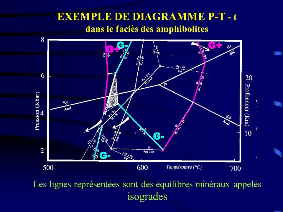 EXEMPLE DE DIAGRAMME P-T - t dans le faciès des amphibolites Les lignes représentées sont des équilibres minéraux appelés isogrades