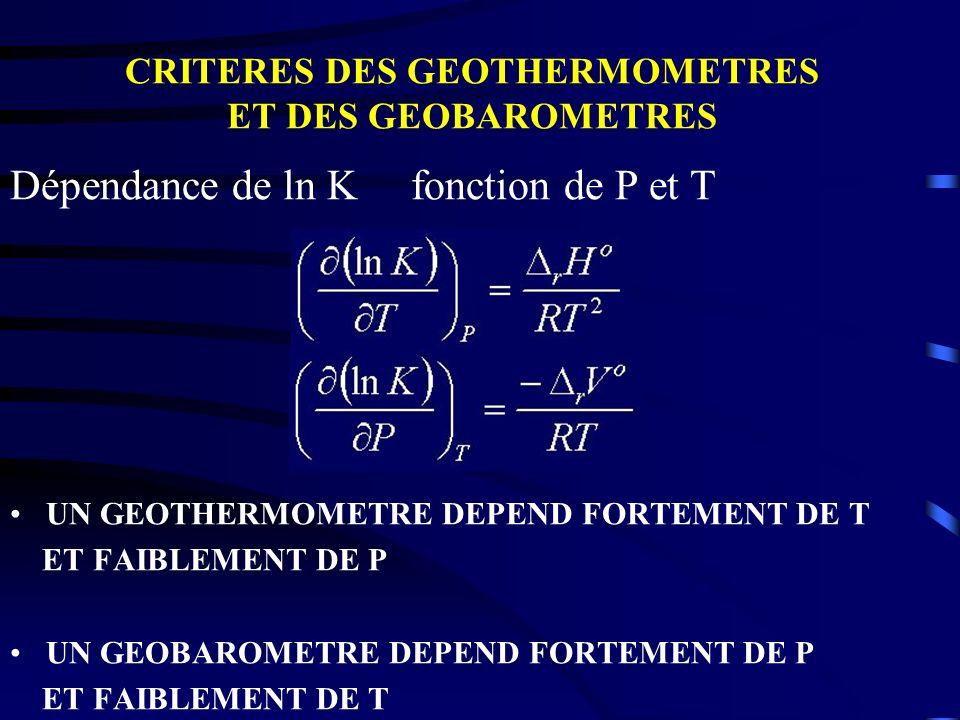 CRITERES DES GEOTHERMOMETRES ET DES GEOBAROMETRES Dépendance de ln K fonction de P et T UN GEOTHERMOMETRE DEPEND FORTEMENT DE T ET FAIBLEMENT DE P UN
