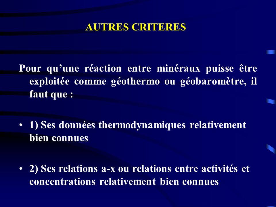 Pour quune réaction entre minéraux puisse être exploitée comme géothermo ou géobaromètre, il faut que : 1) Ses données thermodynamiques relativement b