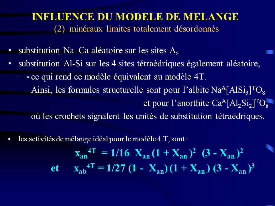 substitution Na–Ca aléatoire sur les sites A, substitution Al-Si sur les 4 sites tétraédriques également aléatoire, ce qui rend ce modèle équivalent a