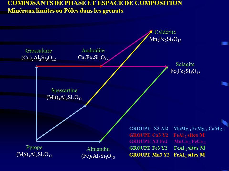 Pyrope (Mg) 3 Al 2 Si 3 O 12 Grossulaire (Ca) 3 Al 2 Si 3 O 12 Almandin (Fe) 3 Al 2 Si 3 O 12 Spessartine (Mn) 3 Al 2 Si 3 O 12 Andradite Ca 3 Fe 2 Si