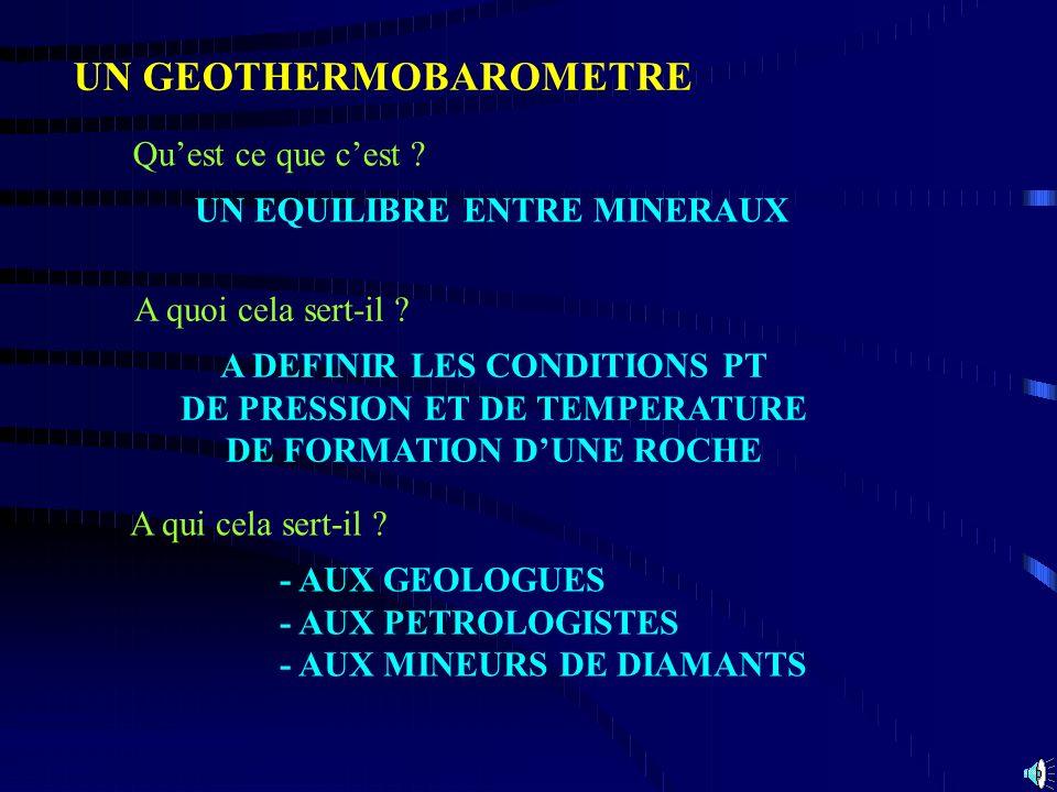 Exemple : Géothermomètre Grenats- Biotites Géobaromètre GASP 160°C 14 km