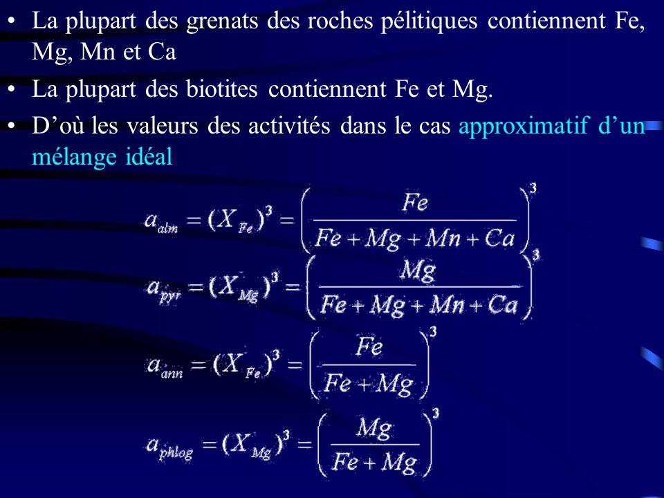 La plupart des grenats des roches pélitiques contiennent Fe, Mg, Mn et Ca La plupart des biotites contiennent Fe et Mg. Doù les valeurs des activités