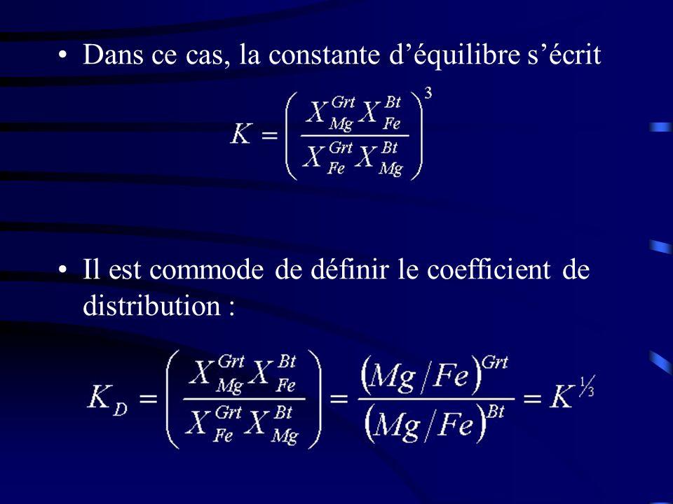 Dans ce cas, la constante déquilibre sécrit Il est commode de définir le coefficient de distribution :