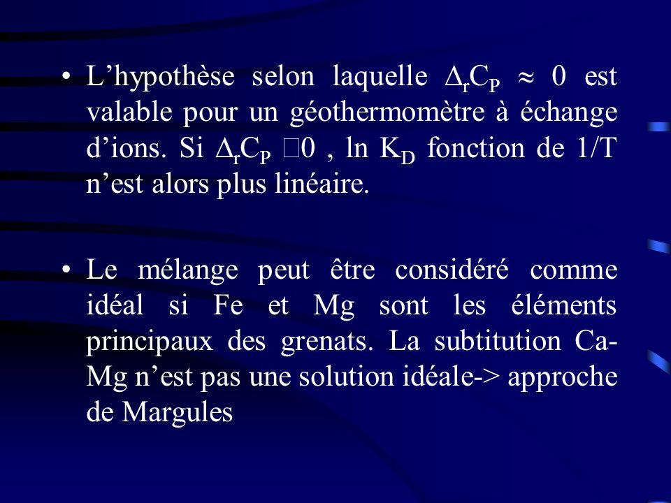 Lhypothèse selon laquelle r C P 0 est valable pour un géothermomètre à échange dions. Si r C P 0, ln K D fonction de 1/T nest alors plus linéaire. Le