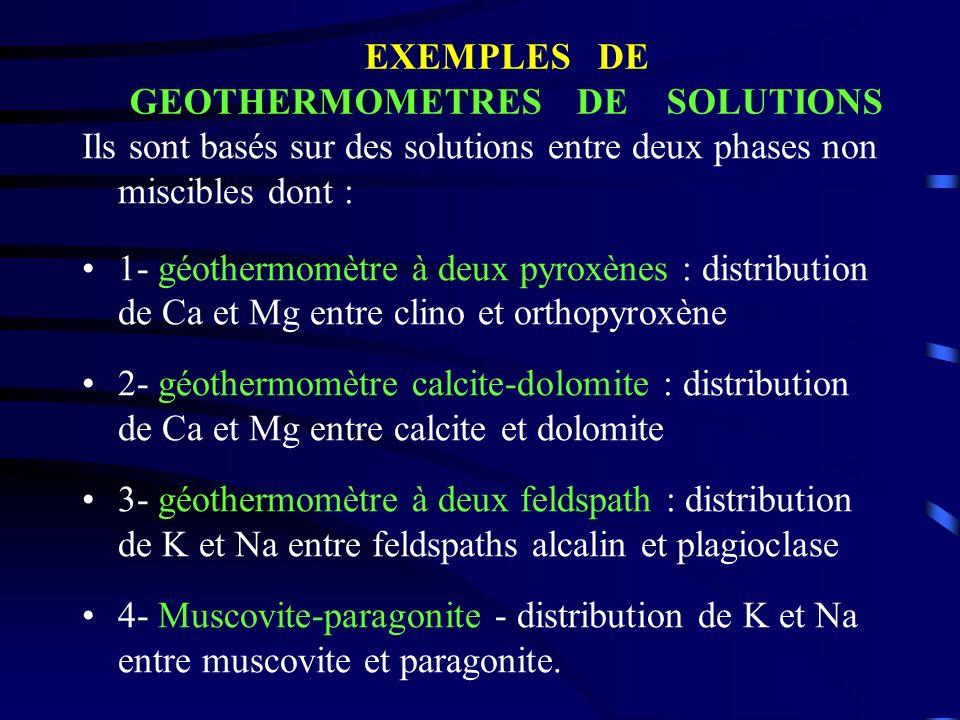 Ils sont basés sur des solutions entre deux phases non miscibles dont : 1- géothermomètre à deux pyroxènes : distribution de Ca et Mg entre clino et o