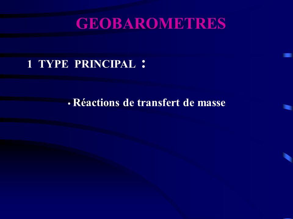 GEOBAROMETRES 1 TYPE PRINCIPAL : Réactions de transfert de masse