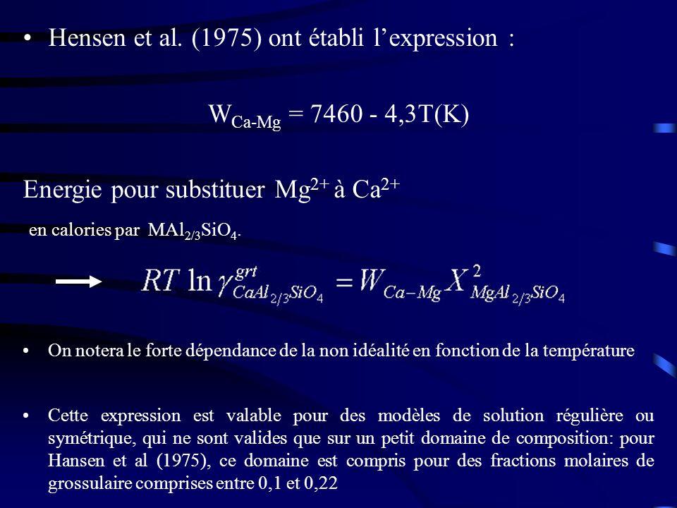 Hensen et al. (1975) ont établi lexpression : W Ca-Mg = 7460 - 4,3T(K) Energie pour substituer Mg 2+ à Ca 2+ en calories par MAl 2/3 SiO 4. On notera